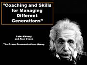 Coaching and Skills  for Managing Different Generations