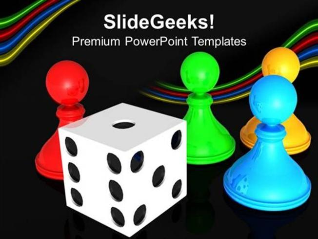 Business Chess Board With Dice Business Ppt Template Powerpoint Template