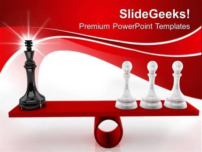 teamwork chessmen on scales leadership ppt template-powerpoint, Modern powerpoint