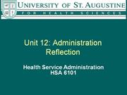 Unit 12 Administration Reflection