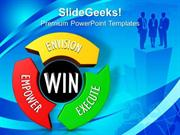 BUSINESS CIRCLE AROUND WITH ENVISION EMPOWER EXECUTE PPT TEMPLATE