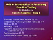 Unit 1 - Introduction to Pulmonary Function Testing