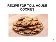 RECIPE CHOCOLATE CHIP COOKIE