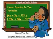 linear equations in 2 variables for 10th