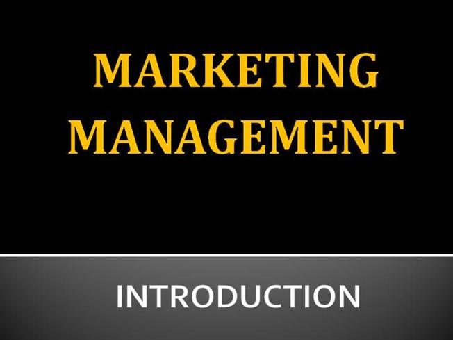 Introduction to Marketing Management |authorSTREAM