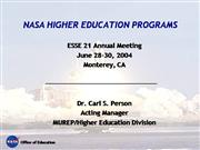 NASA Higher Education Programs