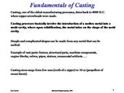 Fundamentals of Casting