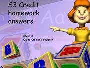 S3 Credit homework sheet 2 answers