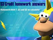 S3 Credit homework sheet 7 answers