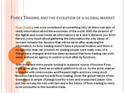 forex trading and the evolution of a global market