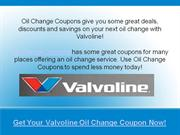 valvoline oil change coupons deals