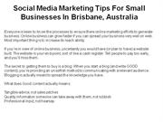 social media marketing tips for small businesses in brisbane, australi