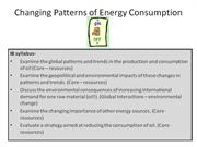 changing pattern of energy consumption task