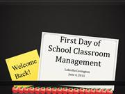 First Day of School Classroom Management