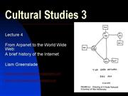 Cultural Studies 3 Lecture 4 Histry of the net