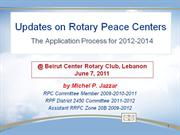 Rotary Peace Centers and Peace fellowships updates