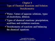 types of chemical reactions and solution