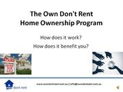The Own Dont Rent Home Ownership Program