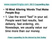 SEO Copywriting - 10 Mind Altering Words