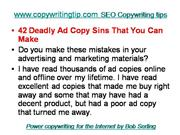 SEO Copywriting tips- 42 ad copy sins