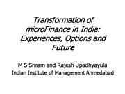 transformation of Microfinance in India