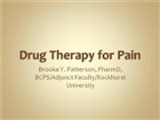 Drug Therapy for Pain