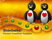 PENGUIN COUPLE HOLDING HANDS ANIMAL POWERPOINT TEMPLATE