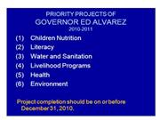 Priority Projects of Governor Ed Alvarez