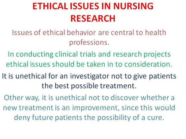 Research Issues in Nursing