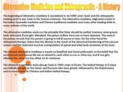 Alternative Medicine and Chiropractic - A History