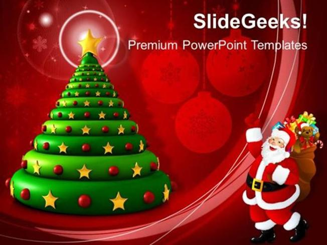 Christian 3d Christmas Tree Celebrations Ppt Template Powerpoint