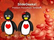PENGUIN COUPLE HOLDING HANDS HEARTS DAY POWERPOINT TEMPLATE