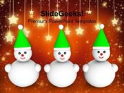 VACATION THREE SNOWMAN ON CHRISTMAS BACKGROUND PPT TEMPLATE