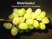 FOOD BUNCH OF GRAPES OVER BLACK BACKGROUND PPT TEMPLATE