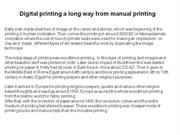 Digital printing a long way from manual printing
