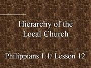 Philippians 1:1 Lesson 12  Local Church