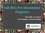 Loyola University Maryland- Pre-Orientation Presentation