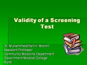 VALIDITY OF A SCREENING