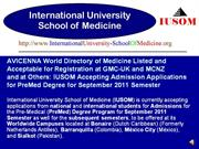 avicenna directory of medicine listed: iusom premed degree admissions