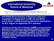 avicenna directory of medicine listed: iusom m.d. degree admissions