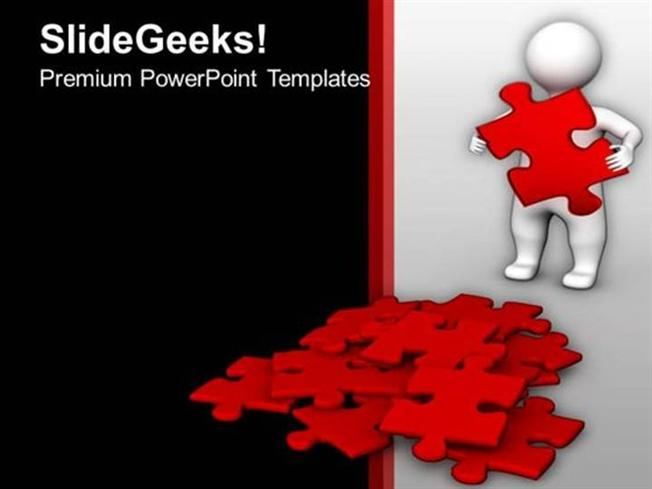 people 3d man finding red puzzles solution ppt template powerpoint