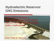 Hydroelectric Reservoir GHG Emissions