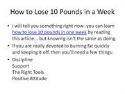 How to Lose 10 Pounds in One Week