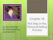 first step in personal selling  by lisa thomsen