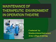 Maintenance of therapeutic  environment in operation theatre