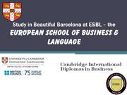 Study in Beautiful Barcelona at ESBL ppt