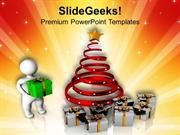 CHRISTMAS 3D MAN WITH CHRISTMAS GIFTS HOLIDAYS PPT TEMPLATE