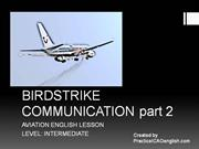 Aviation English lesson - BIRDSTRIKE  COMMUNICATION