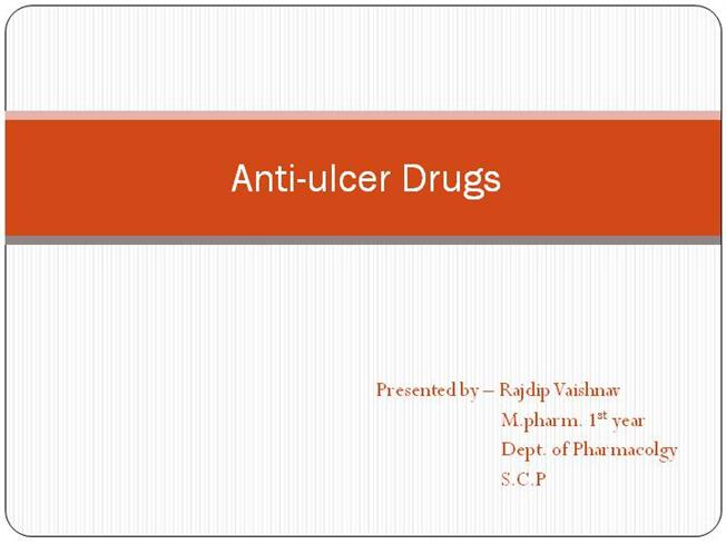 Drugs for peptic ulcer course: pharmacology i course code: phr ppt.