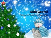 NATURE CHRISTMAS TREE WITH FILIGREES BACKGROUND PPT TEMPLATE
